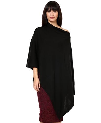 Pluchi Nursing Knitted Cotton Poncho Rosette - Black
