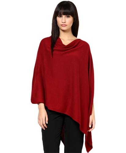 Pluchi Nursing Knitted Cotton Poncho Rosette - Dk Red