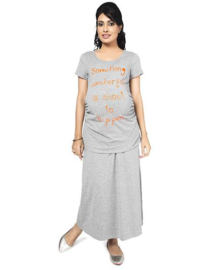 Nine Maternity Comfy Jersey Skirt In Grey Melange