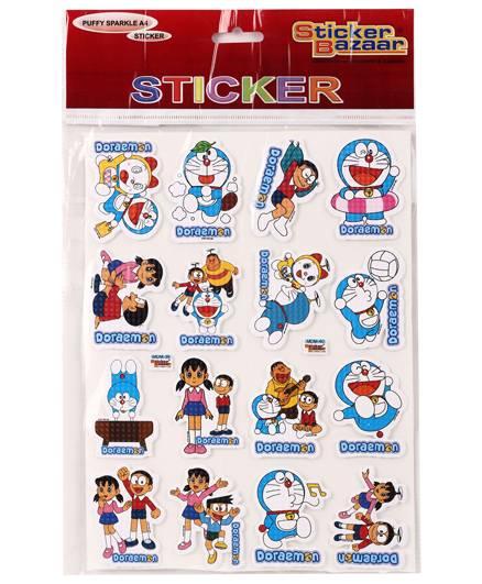 Doraemon Puffy Sparkle A4 Sticker - Blue