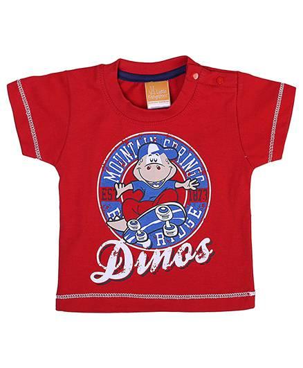 Little Kangaroos Half Sleeves T-Shirt Dinos Print - Red