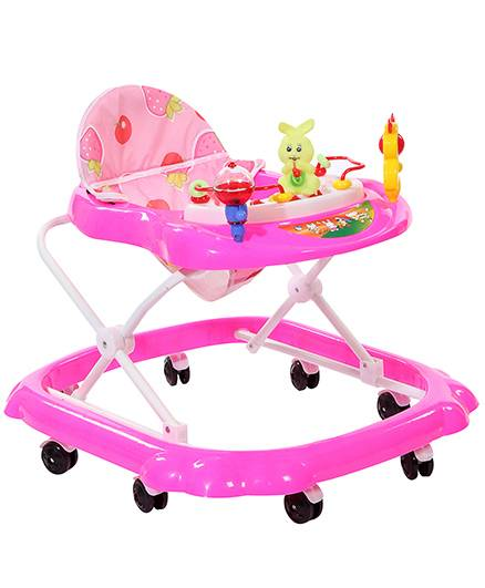 Musical Baby Walker With Play Tray And Rabbit Toy - Pink