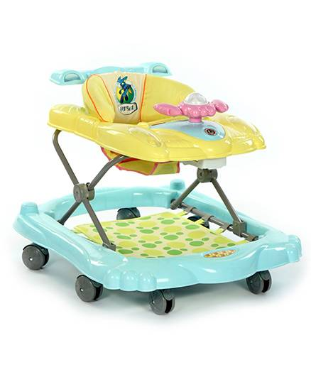 Baby Walker With Foot Mat And Music - Blue And Yellow