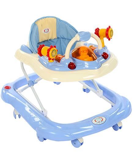 Musical Baby Walker Aeroplane Design - Blue And Cream