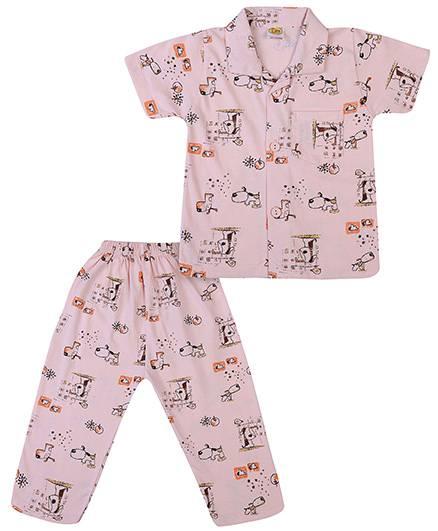 Little Half Sleeves Night Suit Puppy Print - Light Pink