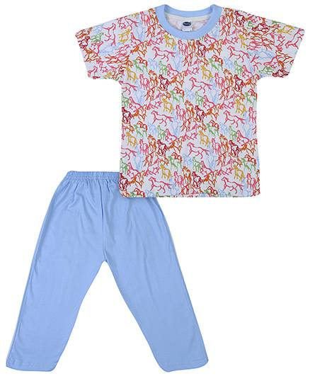 Teddy Half Sleeves Night Suit Horse Print - White And Sky Blue