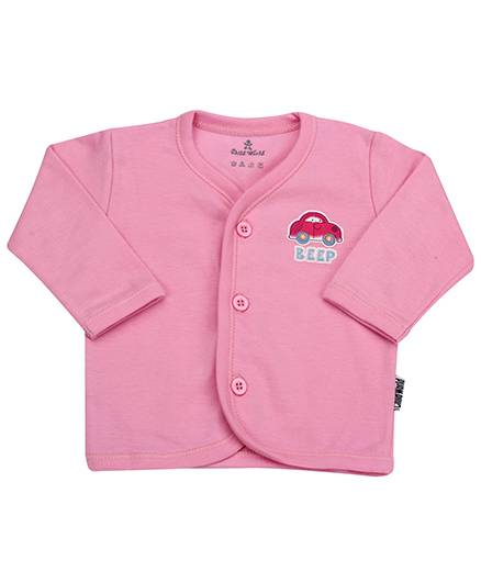 Child World Full Sleeves Front Open Vest Car Print - Pink