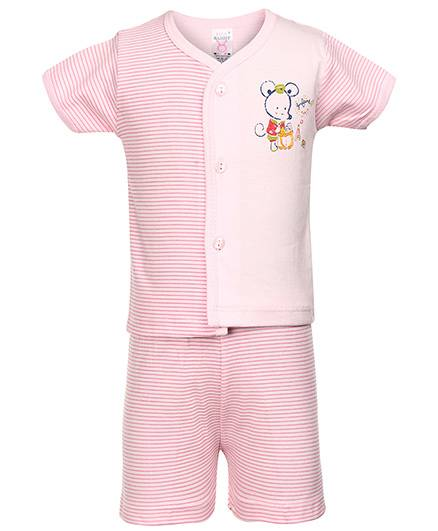 Pink Rabbit Front Open T-Shirt And Shorts Mouse And Stripes Print - Pink