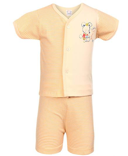 Pink Rabbit Front Open T-Shirt And Shorts Mouse And Stripes Print - Peach