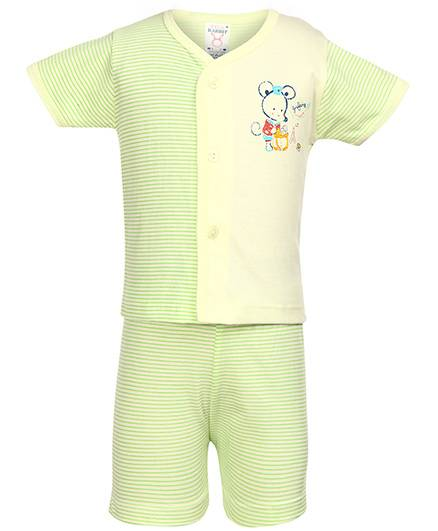 Pink Rabbit Front Open T-Shirt And Shorts Mouse And Stripes Print - Green