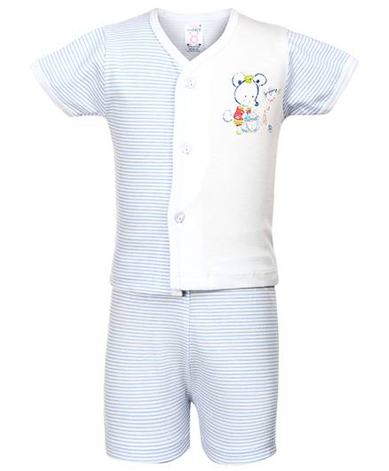 Pink Rabbit Front Open T-Shirt And Shorts Mouse And Stripes Print - Blue