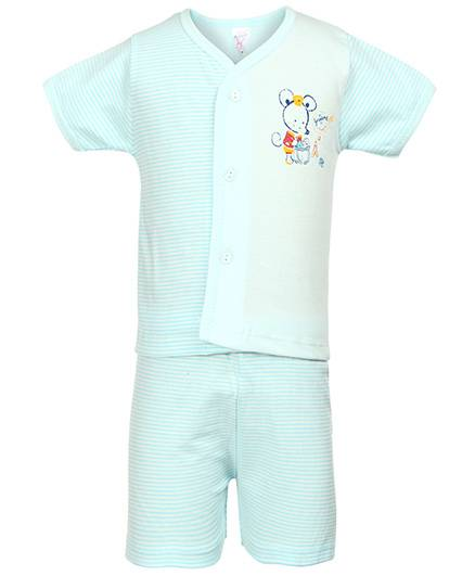 Pink Rabbit Front Open T-Shirt And Shorts Mouse And Stripes Print - Aqua Blue