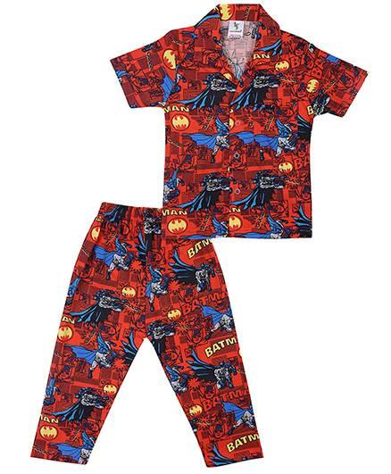 Cucumber Half Sleeves Night Suit Batman Print - Dark Red