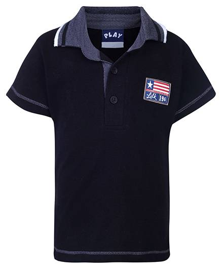 Little Kangaroos Half Sleeves Polo T-Shirt 196 Patch - Black