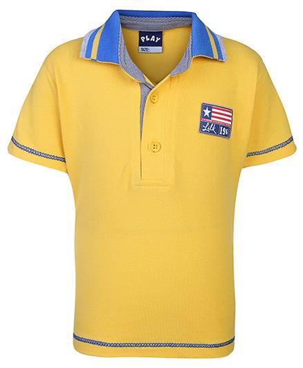 Little Kangaroos Half Sleeves Polo T-Shirt 196 Patch - Yellow