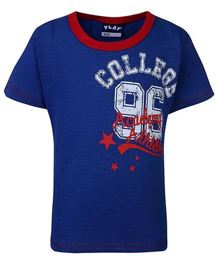 Little Kangaroos Contrast Neckline T-Shirt Emboss Print - Blue
