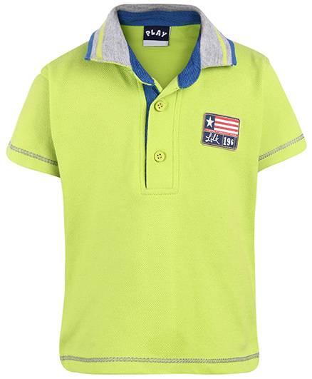 Little Kangaroos Half Sleeves Polo T-Shirt 196 Patch - Light Green