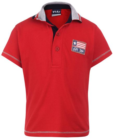 Little Kangaroos Half Sleeves Polo T-Shirt 196 Patch - Red