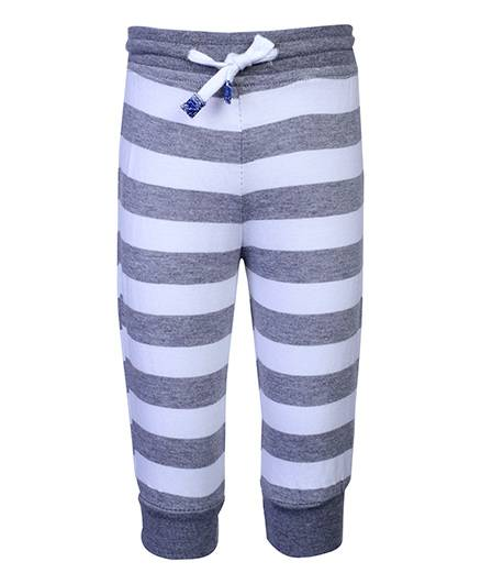 Little Kangaroos Leggings Contrast Color Stripes - White And Grey