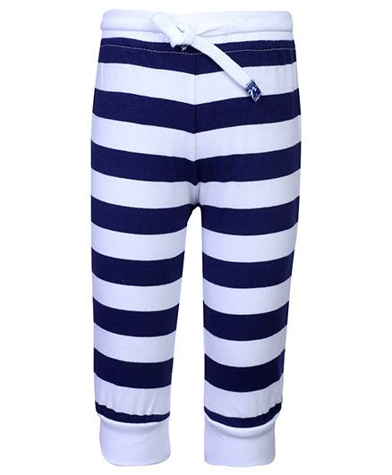 Little Kangaroos Leggings Contrast Color Stripes - White And Navy Blue