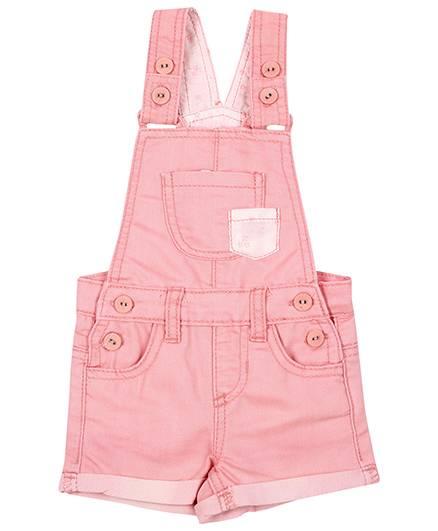 Fox Baby Turn Up Denim Dungaree - Light Pink