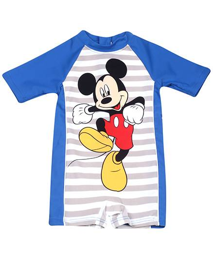 Fox Baby Half Sleeves Legged Swimsuit Mickey Mouse Print - Blue