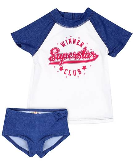Fox Baby Two Piece Kids Swimsuit Raglan Sleeves - White And Blue
