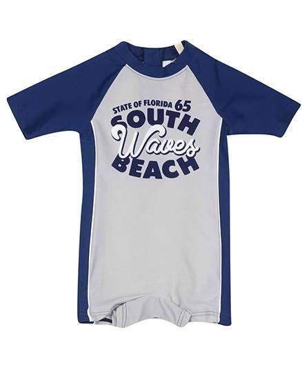 Fox Baby Half Sleeves Leg Swimsuit Beach Print - Navy Blue And Grey