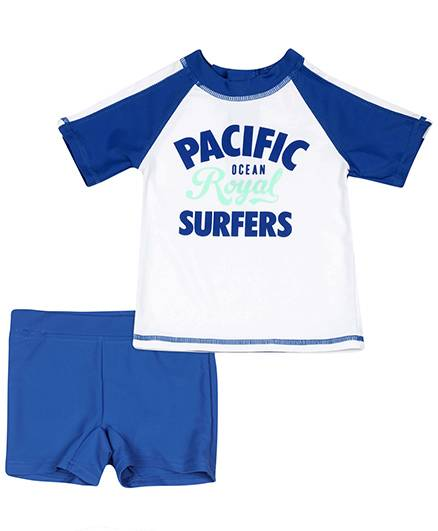 Fox Baby Two Piece Kids Swimsuit Pacific Print - Royal Blue