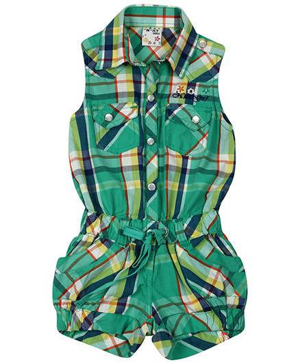 N-XT Collared Neck Jumpsuit Check Pattern - Green