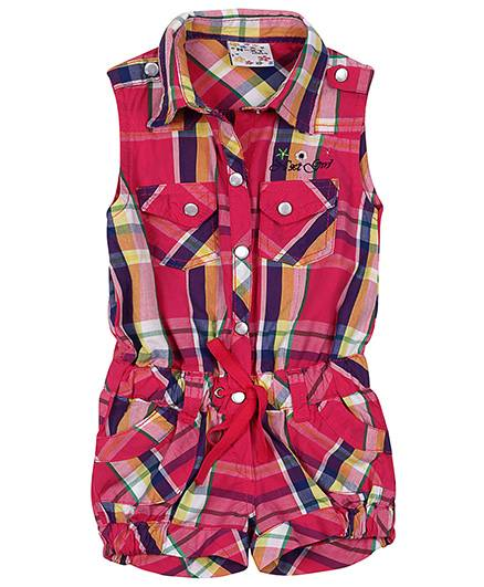 N-XT Collared Neck Jumpsuit Check Pattern - Pink