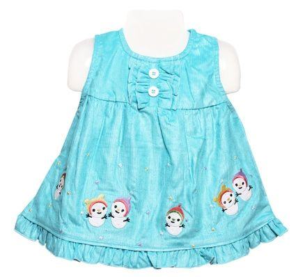 Sleeveless Frock - Snow Man Print