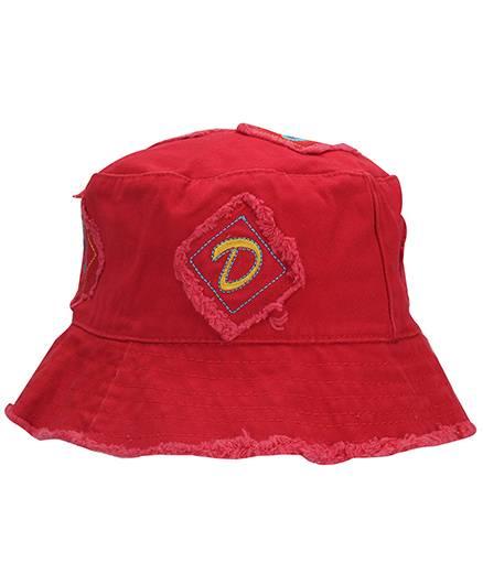 Babyhug Bucket Cap Alphabet Embroidery - Red
