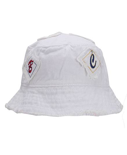 Babyhug Bucket Cap Alphabet Embroidery - White