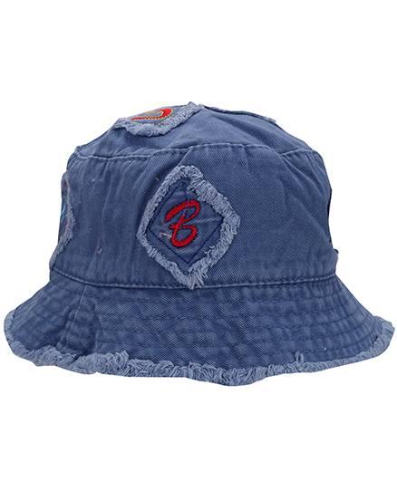 Babyhug Bucket Cap Alphabet Embroidery - Blue