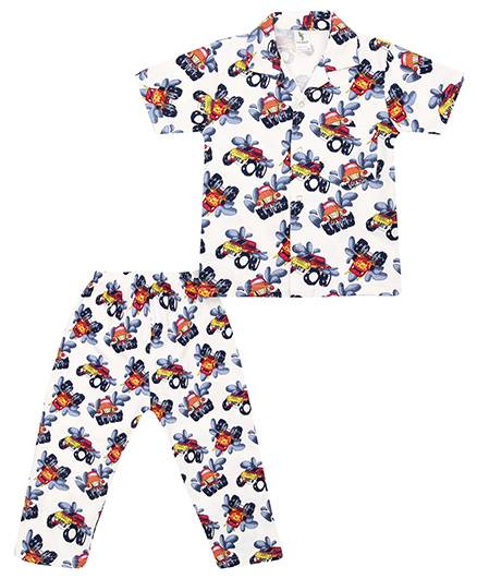Cucumber Collar Neck Night Suit Car Print - Blue And White