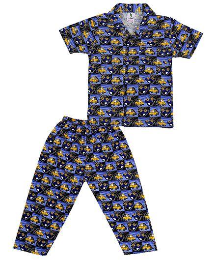 Cucumber Half Sleeves Collar Neck Night Suit Car Print - Navy Blue