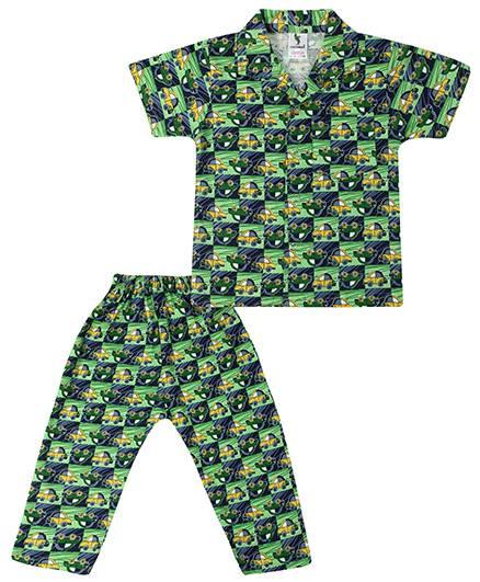Cucumber Half Sleeves Collar Neck Night Suit Car Print - Green