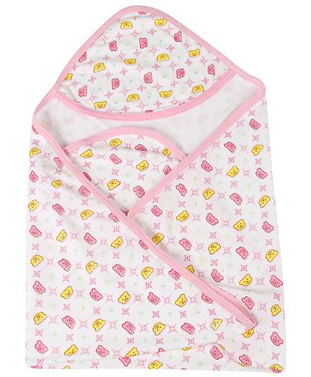 Babyhug Hooded Towel Alphabet Print - White And Pink