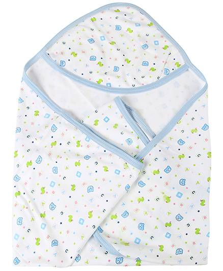 Babyhug Hooded Towel Teddy And Star Print - White And Blue