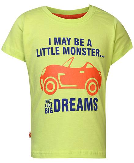 Baby League Short Sleeves T-Shirt Quote Print - Neon Green