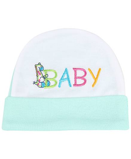 Babyhug Beanie Cap Baby Embroidery - Light Green