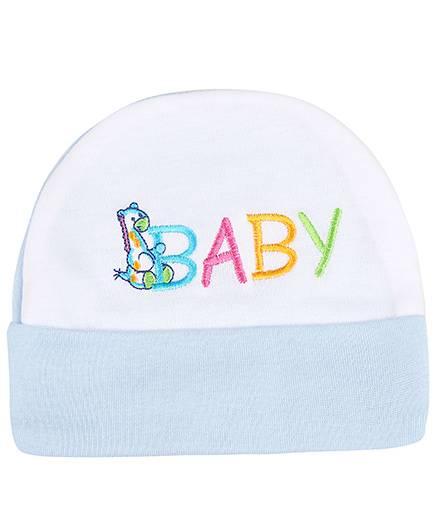 Babyhug Beanie Cap Baby Embroidery - Sky Blue
