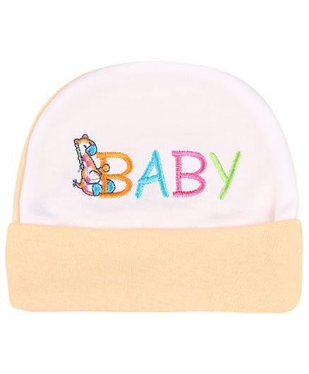 Babyhug Beanie Cap Baby Embroidery - Peach