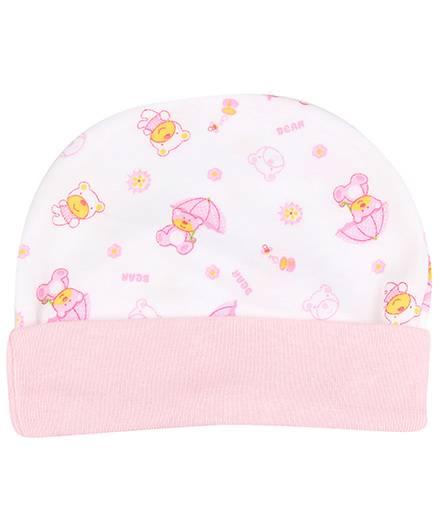 Babyhug Beanie Cap Bear Print - Light Pink