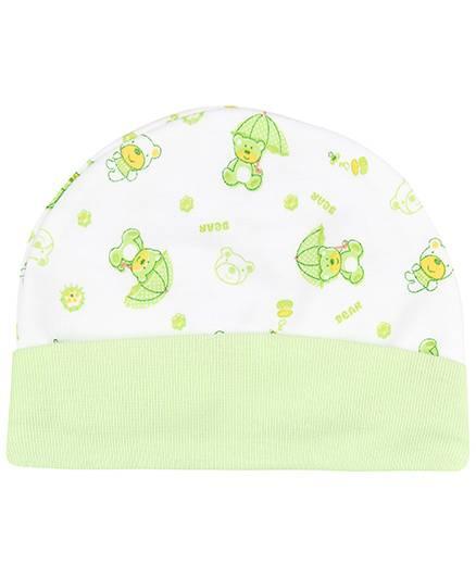 Babyhug Beanie Cap Bear Print - Light Green