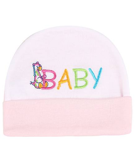 Babyhug Beanie Cap Baby Embroidery - Light Pink