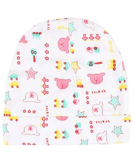 Babyhug Cap Teddy And Star Print - Pink And Green