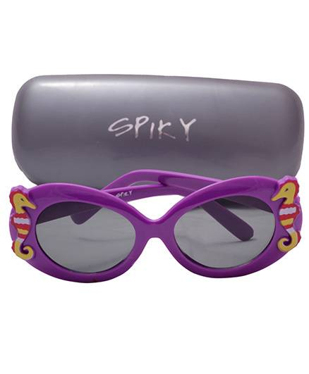 Spiky Sunglasses 100 Percent UV Protection Oval With Case - Purple
