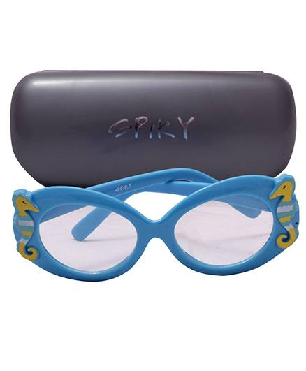 Spiky Sunglasses 100 Percent UV Protection Oval With Case - Blue